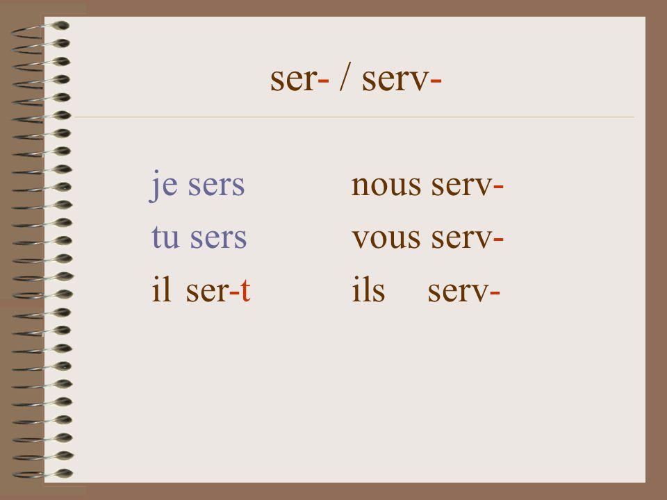 ser- / serv- je sersnous servons tu sers vous servez il sert ils servent