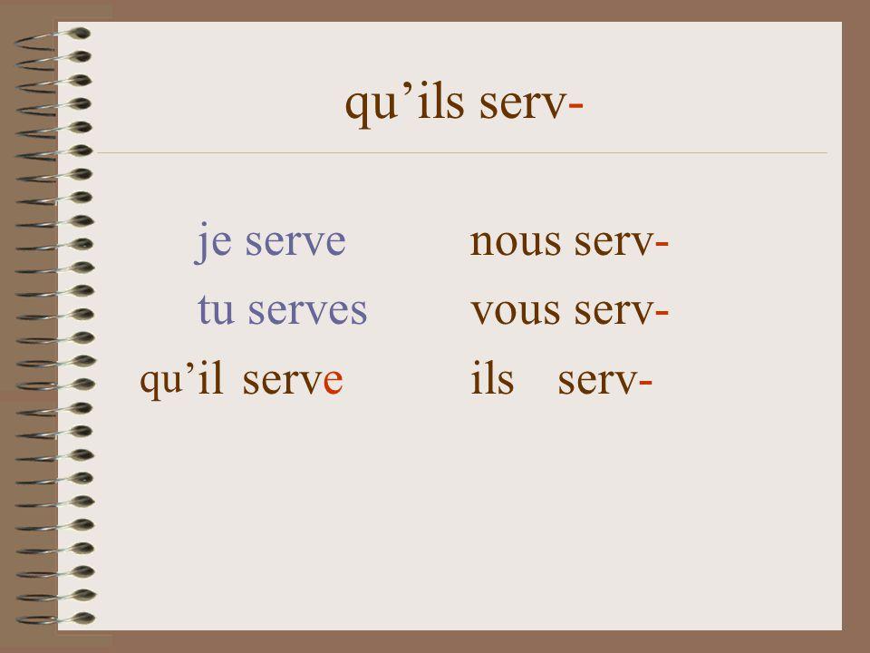 quils serv- je serve nous serv- tu serves vous serv- il serve ils serv- qu
