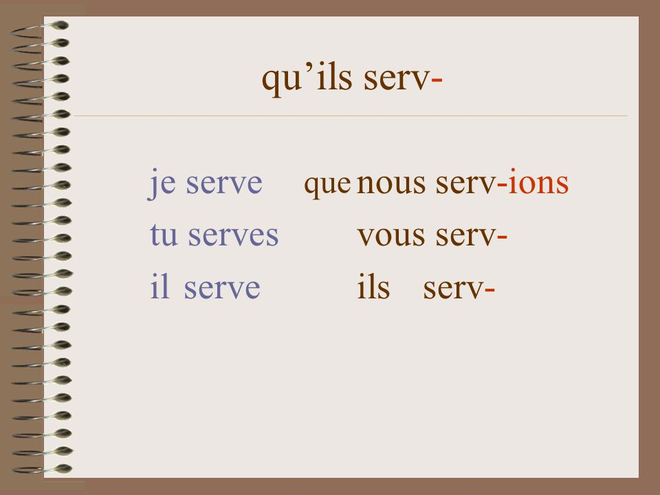 quils serv- je serve nous serv-ions tu serves vous serv- il serve ils serv- que