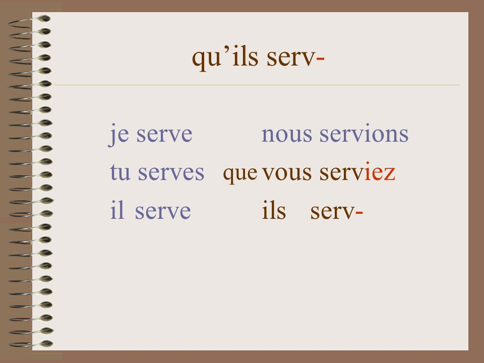 quils serv- je serve nous servions tu serves vous serviez il serve ils serv- que