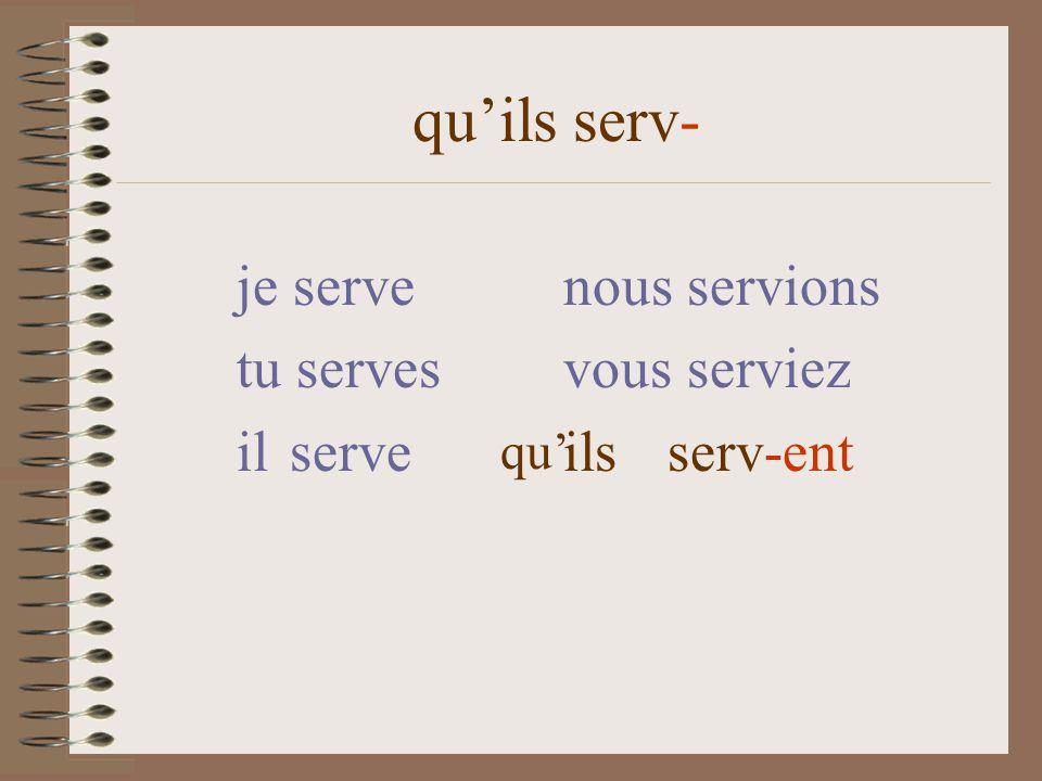 quils serv- je serve nous servions tu serves vous serviez il serve ils serv-ent qu