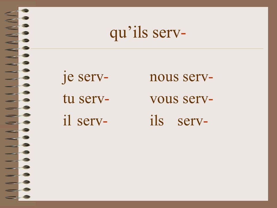 quils serv- je serve nous servions tu serves vous serv- il serve ils serv- que