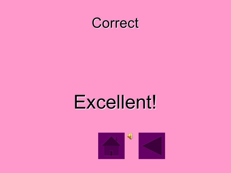 Correct Excellent!