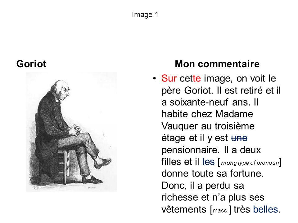 Image 1 Goriot Mon commentaire Sur cette image, on voit le père Goriot. Il est retiré et il a soixante-neuf ans. Il habite chez Madame Vauquer au troi
