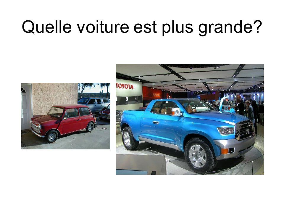A mon avis, la voiture bleue est plus grande que la voiture rouge.