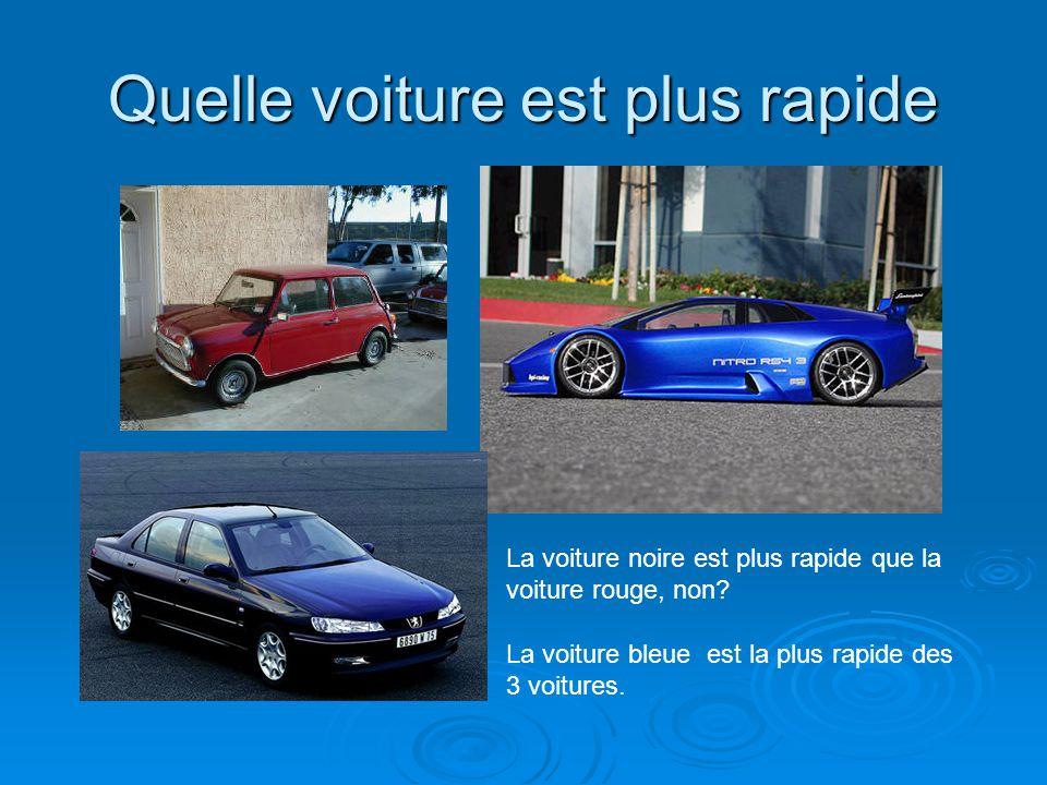 Quelle voiture est plus rapide La voiture noire est plus rapide que la voiture rouge, non? La voiture bleue est la plus rapide des 3 voitures.