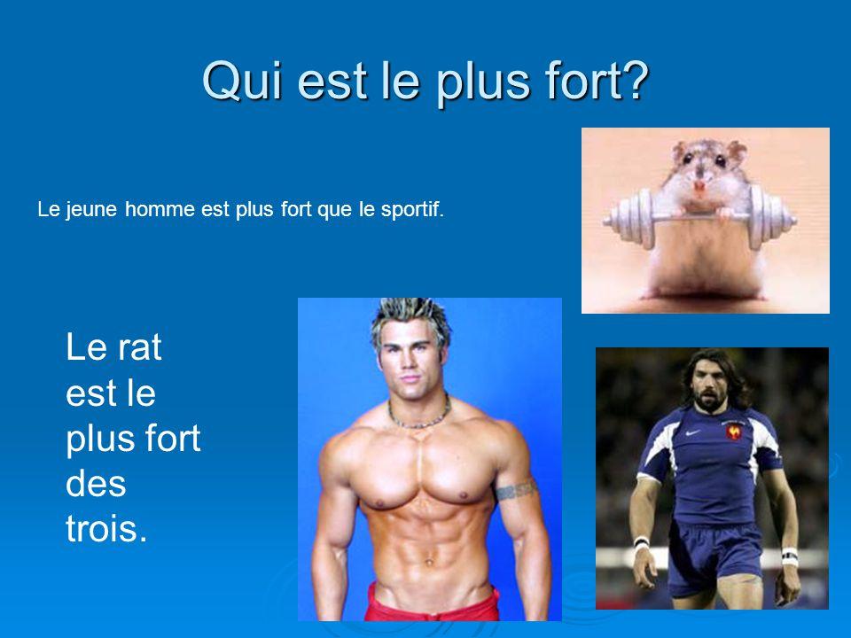 Qui est le plus fort? Le jeune homme est plus fort que le sportif. Le rat est le plus fort des trois.