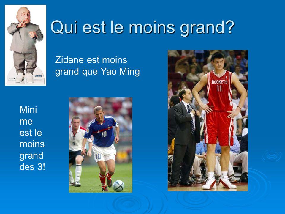Qui est le moins grand? Zidane est moins grand que Yao Ming Mini me est le moins grand des 3!