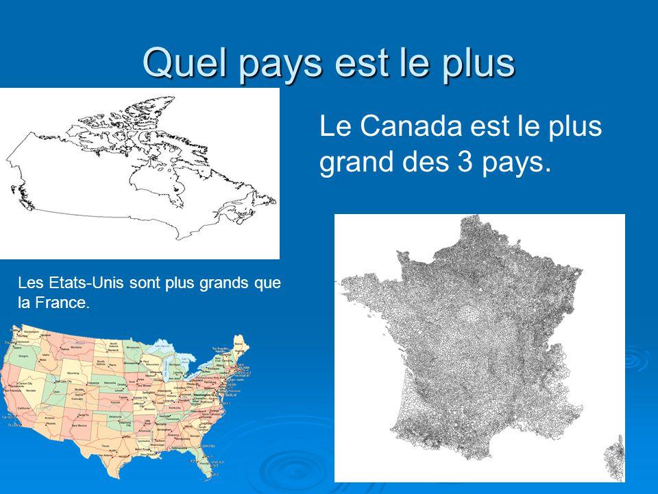 Quel pays est le plus Les Etats-Unis sont plus grands que la France. Le Canada est le plus grand des 3 pays.