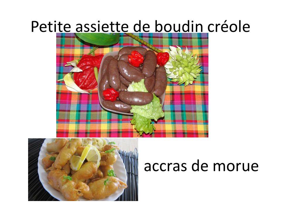 Petite assiette de boudin créole accras de morue