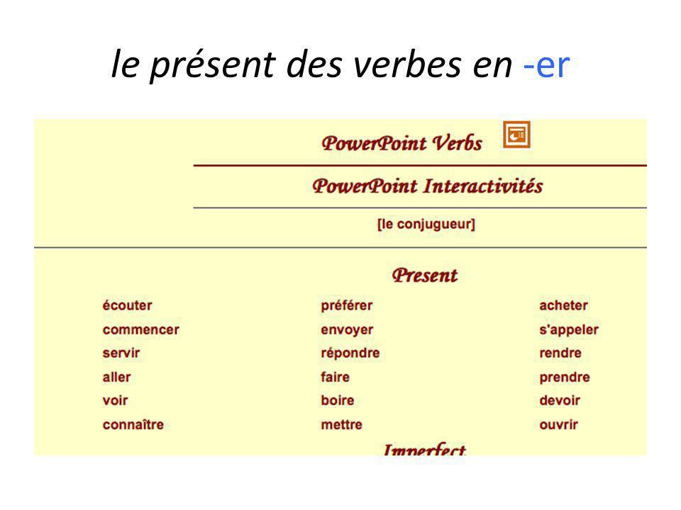 le présent des verbes en -er