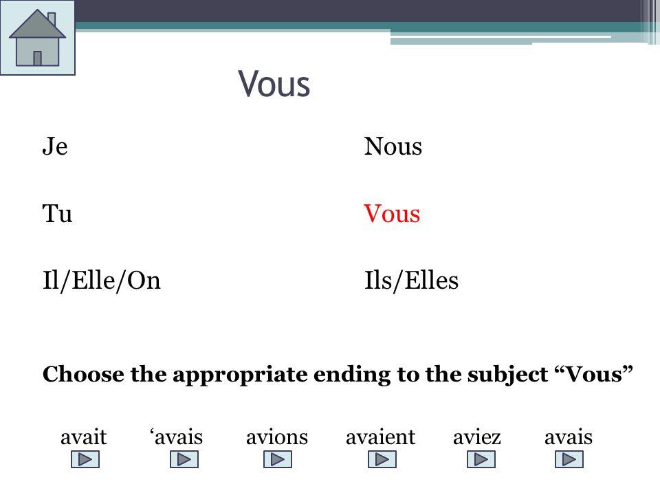 Vous JeNous TuVous Il/Elle/OnIls/Elles Choose the appropriate ending to the subject Vous avait avais avions avaient aviez avais