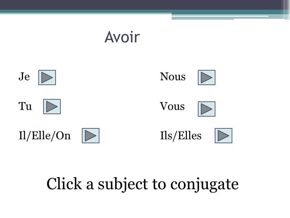 Je JeNous TuVous Il/Elle/OnIls/Elles Choose the appropriate ending to the subject je avais avait avaient avais avions aviez