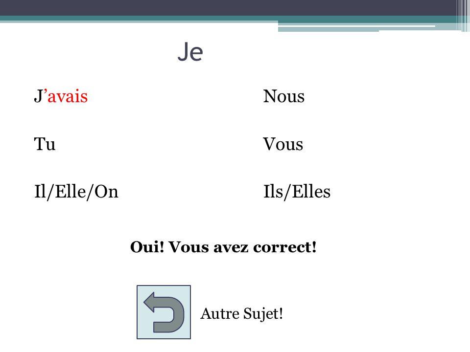 Je JavaisNous TuVous Il/Elle/OnIls/Elles Oui! Vous avez correct! Autre Sujet!