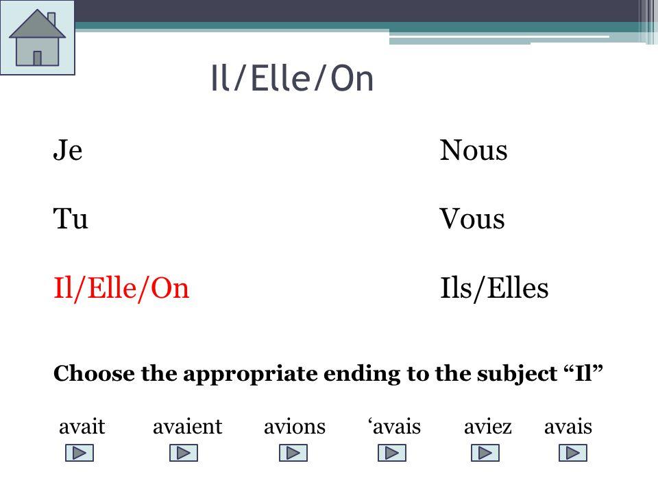 Il/Elle/On JeNous TuVous Il/Elle/OnIls/Elles Choose the appropriate ending to the subject Il avait avaient avions avais aviez avais