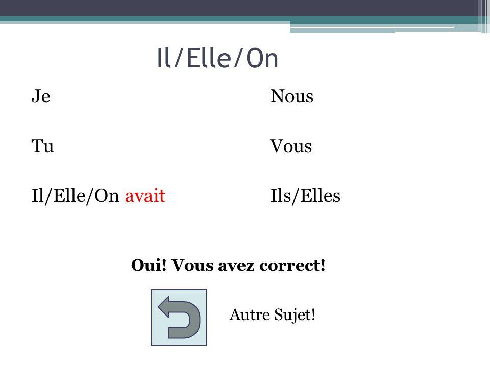 Nous JeNous TuVous Il/Elle/OnIls/Elles Choose the appropriate ending to the subject Nous avait avais avions avaient aviez avais