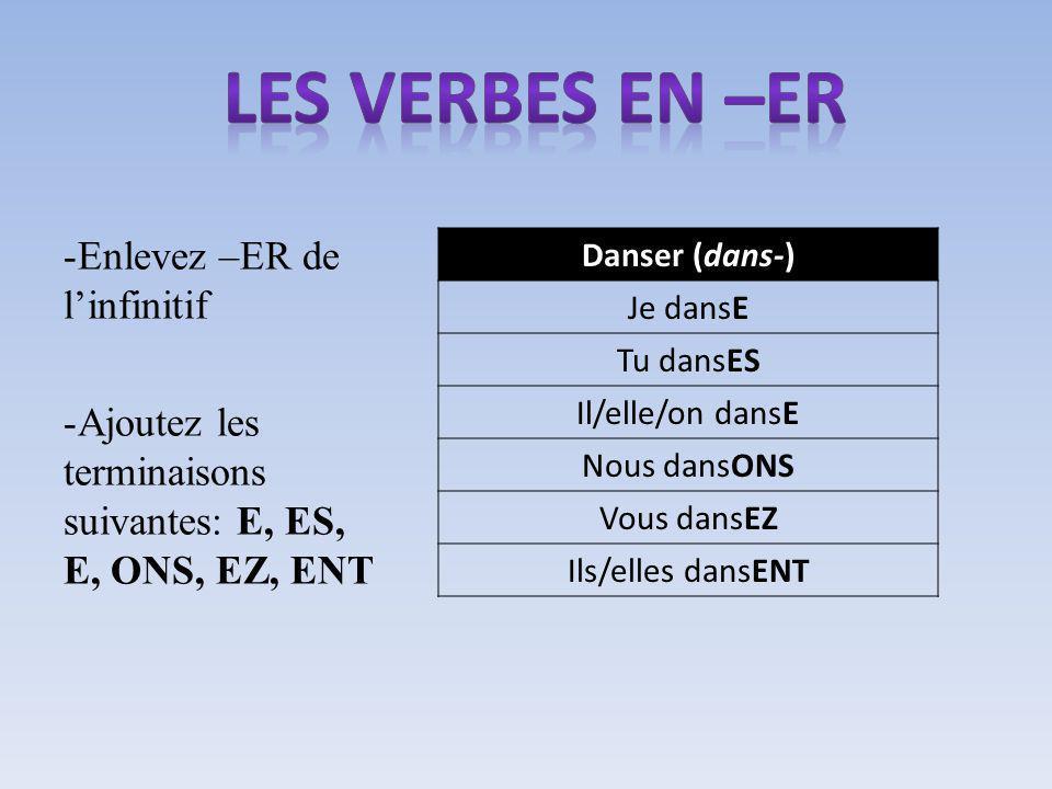 -Enlevez –ER de linfinitif -Ajoutez les terminaisons suivantes: E, ES, E, ONS, EZ, ENT Danser (dans-) Je dansE Tu dansES Il/elle/on dansE Nous dansONS Vous dansEZ Ils/elles dansENT