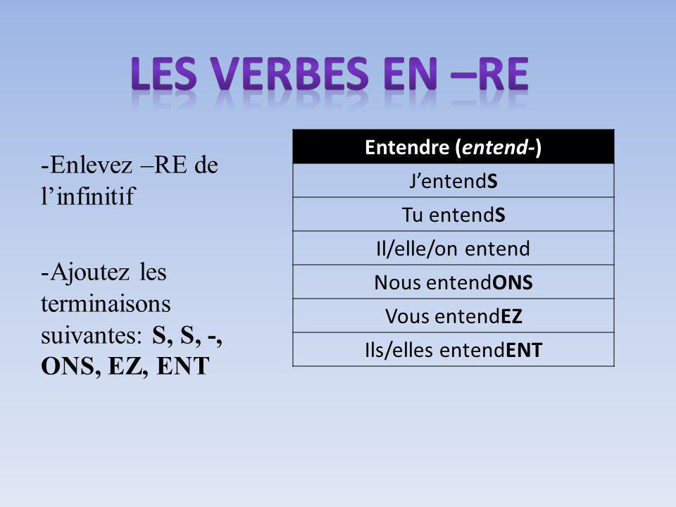 -Enlevez –RE de linfinitif -Ajoutez les terminaisons suivantes: S, S, -, ONS, EZ, ENT Entendre (entend-) JentendS Tu entendS Il/elle/on entend Nous entendONS Vous entendEZ Ils/elles entendENT