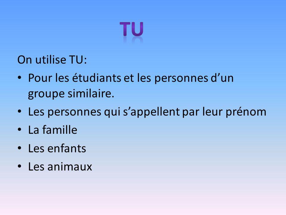 On utilise TU: Pour les étudiants et les personnes dun groupe similaire. Les personnes qui sappellent par leur prénom La famille Les enfants Les anima