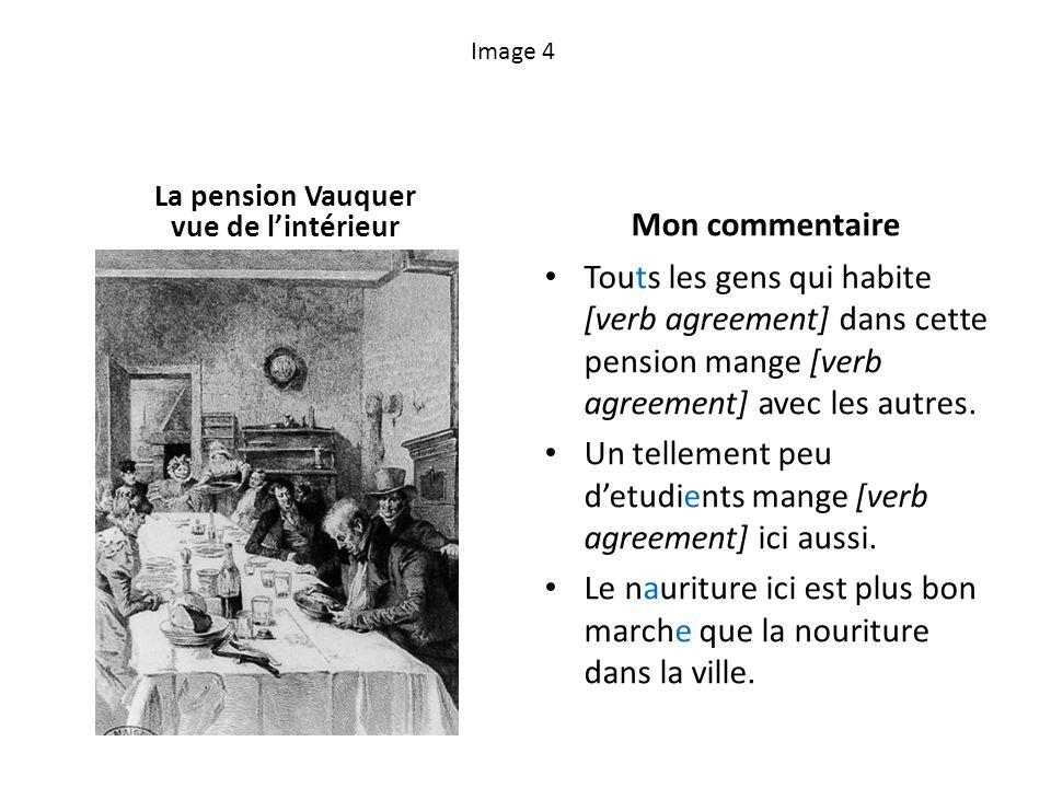 Image 4 La pension Vauquer vue de lintérieur Mon commentaire Touts les gens qui habite [verb agreement] dans cette pension mange [verb agreement] avec