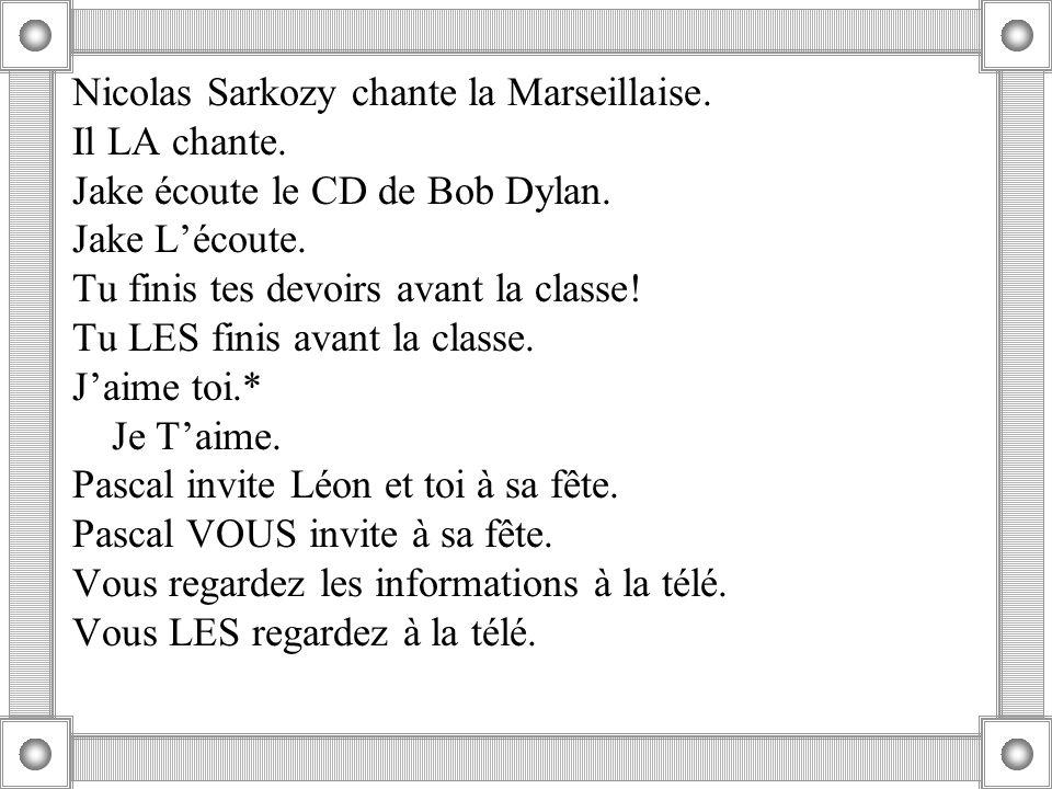 Nicolas Sarkozy chante la Marseillaise.Il LA chante.