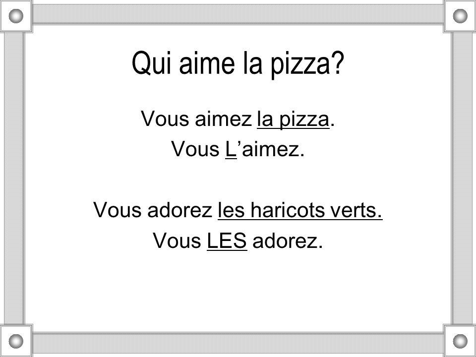 Qui aime la pizza.Vous aimez la pizza. Vous Laimez.