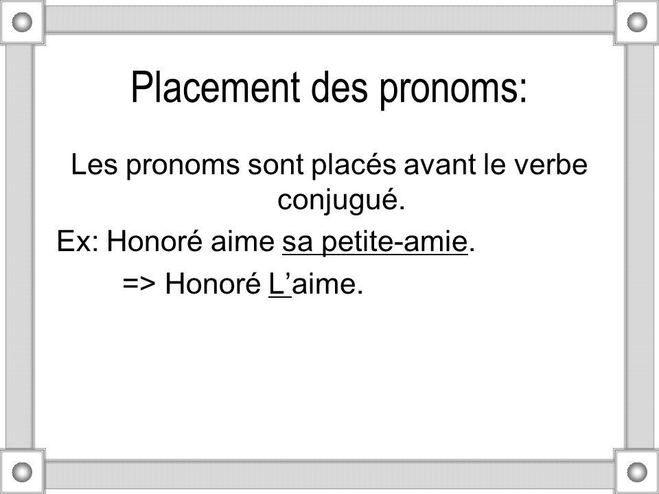 Placement des pronoms: Les pronoms sont placés avant le verbe conjugué.