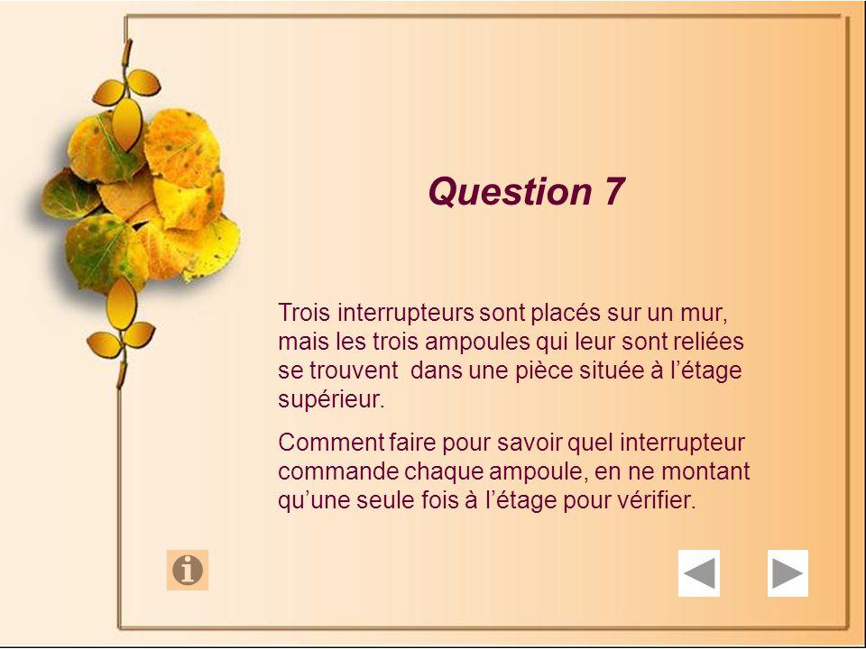 Question 6 Dans une salle se trouvent 5 sacs de pièces dor et une balance.