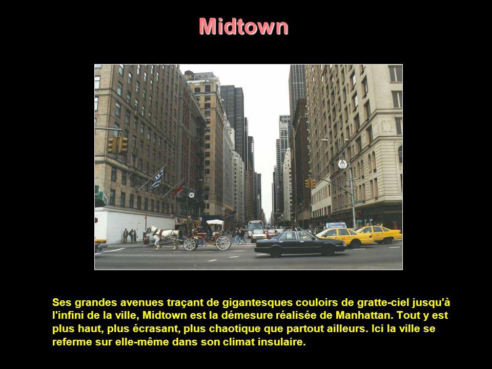 Manhattan, le centre des affaires et du commerce de New York, est une grande île située dans la rivière Hudson.