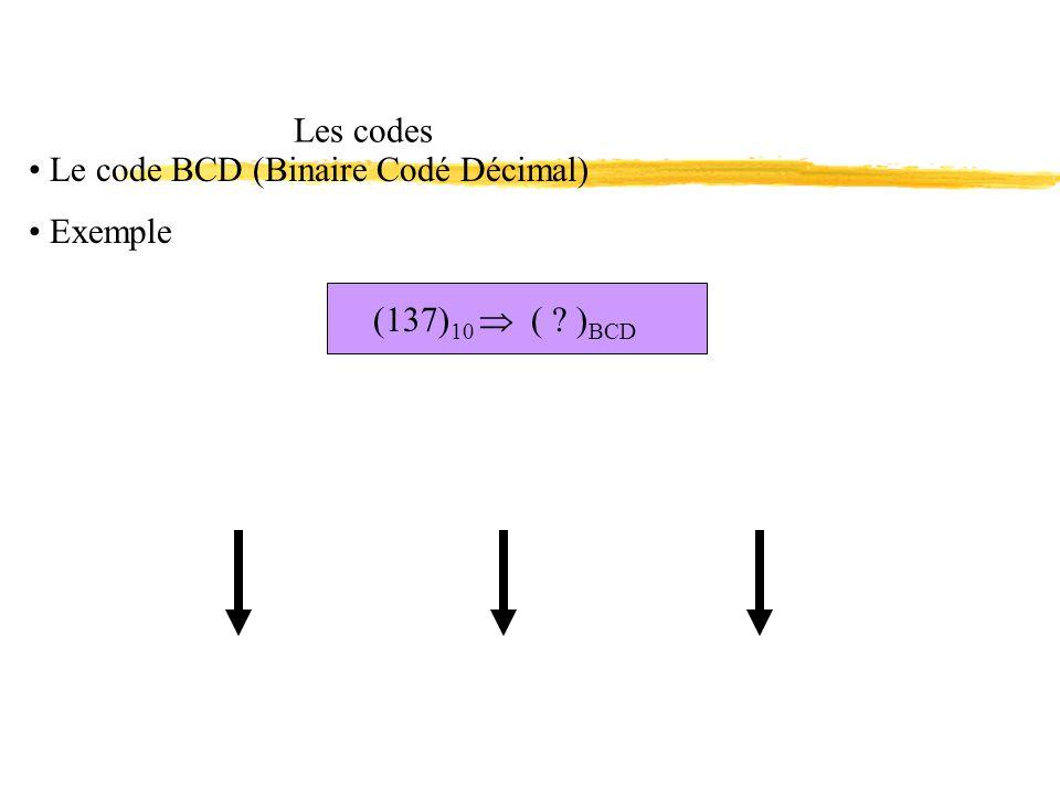(137) 10 ( ? ) BCD Les codes Le code BCD (Binaire Codé Décimal) Exemple