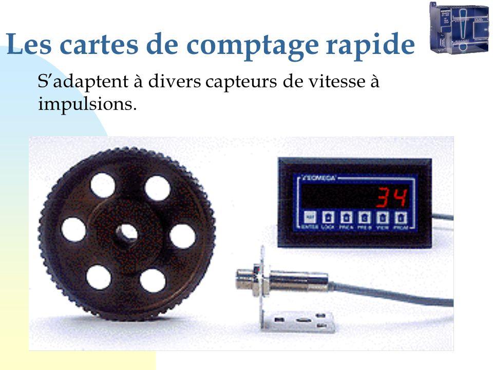 Les cartes de comptage rapide Sadaptent à divers capteurs de vitesse à impulsions.
