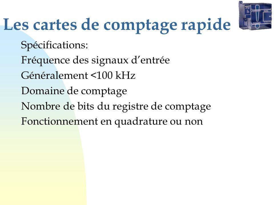 Les cartes de comptage rapide Spécifications: Fréquence des signaux dentrée Généralement <100 kHz Domaine de comptage Nombre de bits du registre de comptage Fonctionnement en quadrature ou non