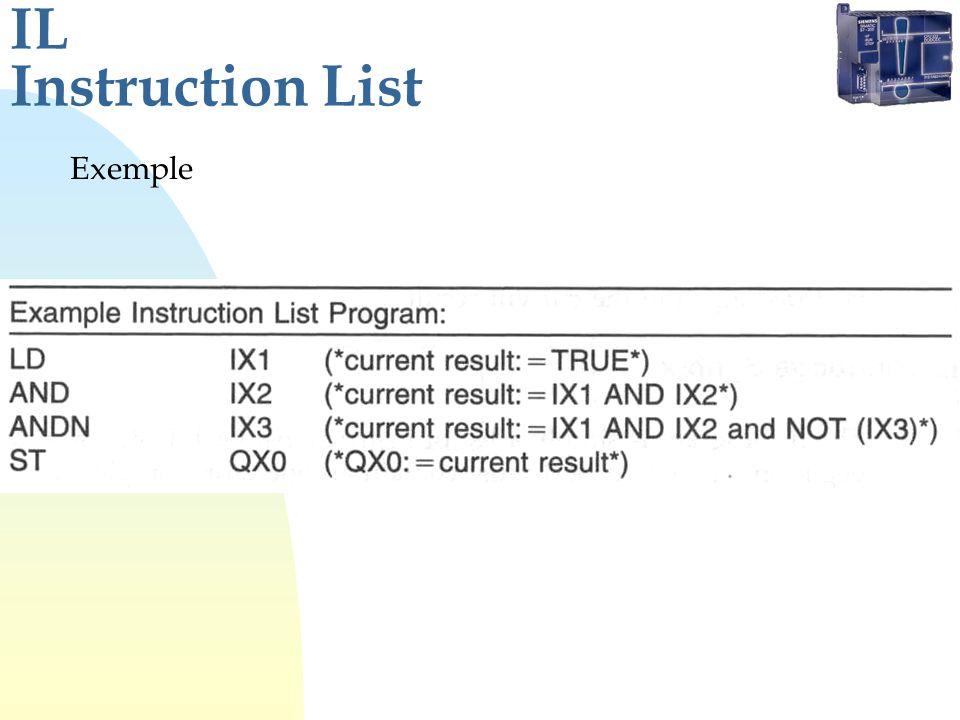 IL Instruction List Exemple
