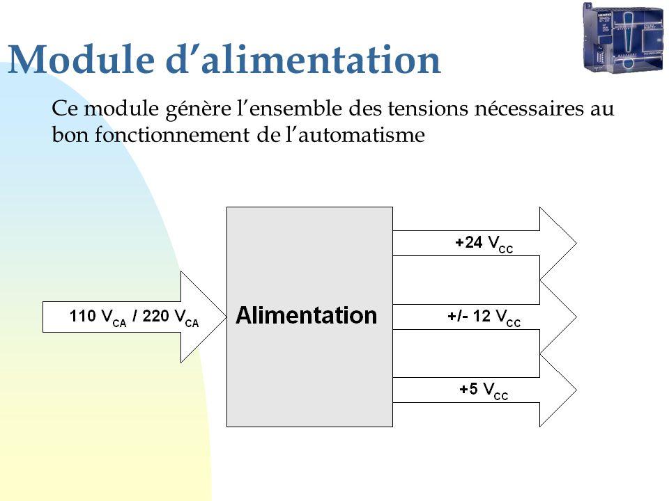 Module dalimentation Ce module génère lensemble des tensions nécessaires au bon fonctionnement de lautomatisme