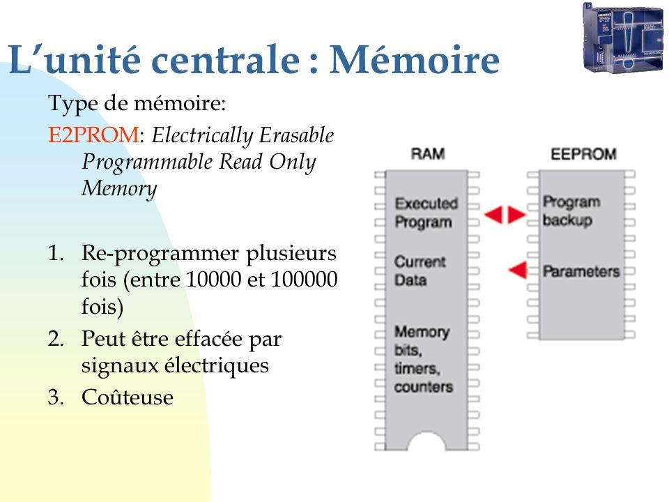 Lunité centrale : Mémoire Type de mémoire: E2PROM: Electrically Erasable Programmable Read Only Memory 1.Re-programmer plusieurs fois (entre 10000 et 100000 fois) 2.Peut être effacée par signaux électriques 3.Coûteuse