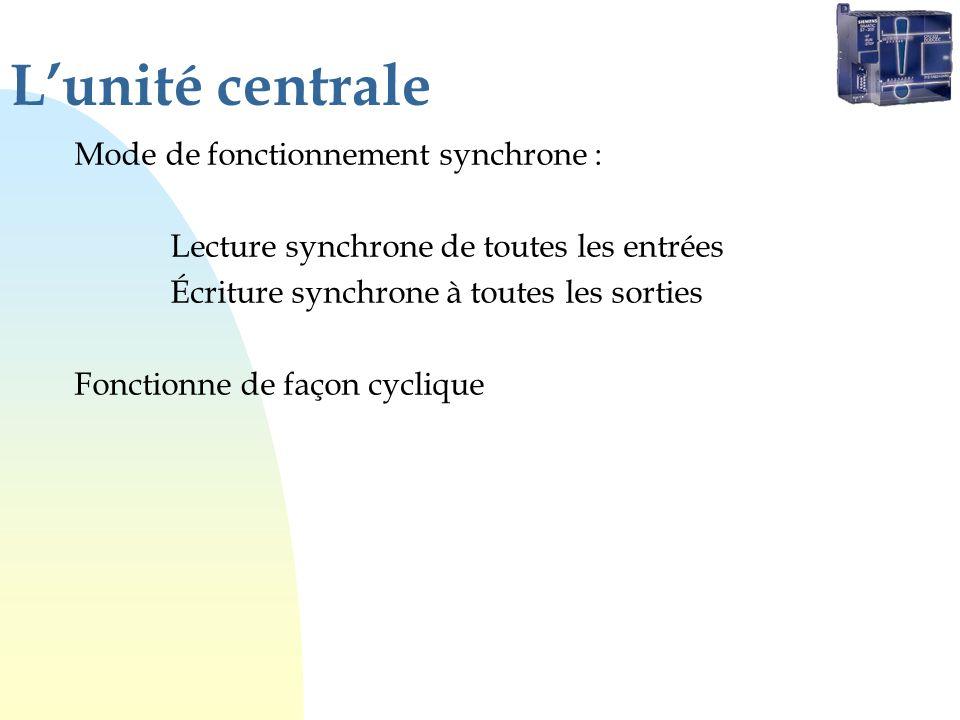 Lunité centrale Mode de fonctionnement synchrone : Lecture synchrone de toutes les entrées Écriture synchrone à toutes les sorties Fonctionne de façon cyclique