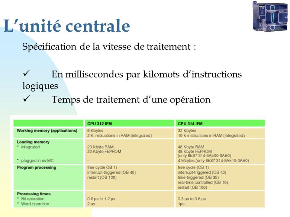 Lunité centrale Spécification de la vitesse de traitement : En millisecondes par kilomots dinstructions logiques Temps de traitement dune opération