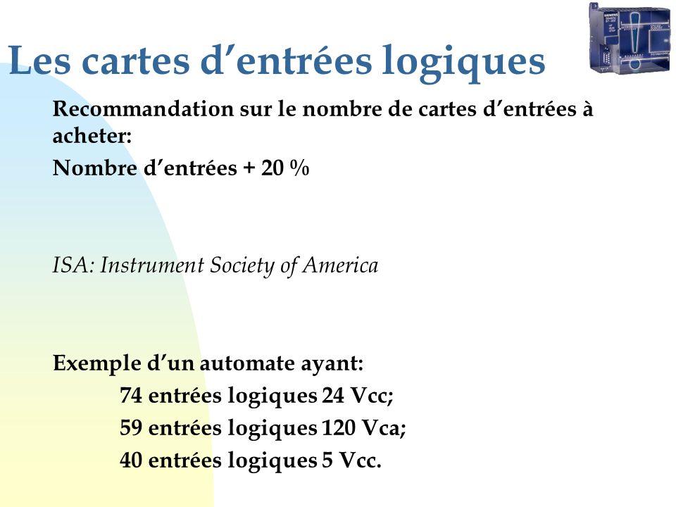 Les cartes dentrées logiques Recommandation sur le nombre de cartes dentrées à acheter: Nombre dentrées + 20 % ISA: Instrument Society of America Exemple dun automate ayant: 74 entrées logiques 24 Vcc; 59 entrées logiques 120 Vca; 40 entrées logiques 5 Vcc.
