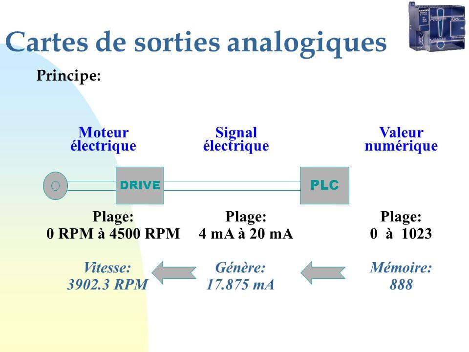 Cartes de sorties analogiques Principe: DRIVE Moteur électrique Plage: 0 RPM à 4500 RPM PLC Plage: 4 mA à 20 mA Signal électrique Plage: 0 à 1023 Valeur numérique Vitesse: 3902.3 RPM Génère: 17.875 mA Mémoire: 888