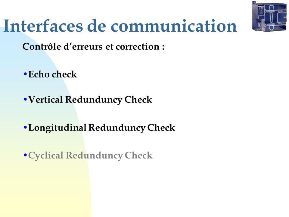 Interfaces de communication Contrôle derreurs et correction : Echo check Vertical Redunduncy Check Longitudinal Redunduncy Check Cyclical Redunduncy Check
