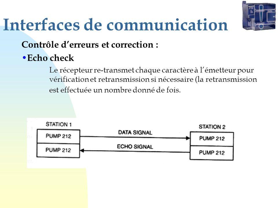 Interfaces de communication Contrôle derreurs et correction : Echo check Le récepteur re-transmet chaque caractère à lémetteur pour vérification et retransmission si nécessaire (la retransmission est effectuée un nombre donné de fois.