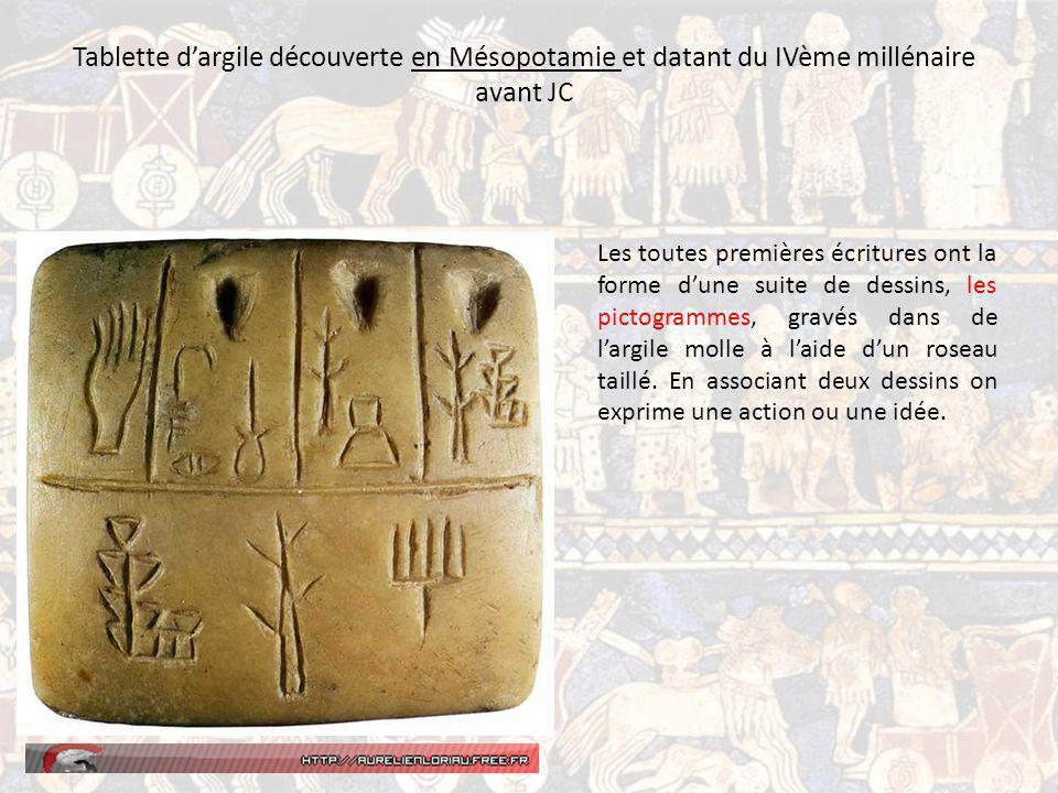 Tablette dargile découverte en Mésopotamie et datant du IVème millénaire avant JC Les toutes premières écritures ont la forme dune suite de dessins, les pictogrammes, gravés dans de largile molle à laide dun roseau taillé.