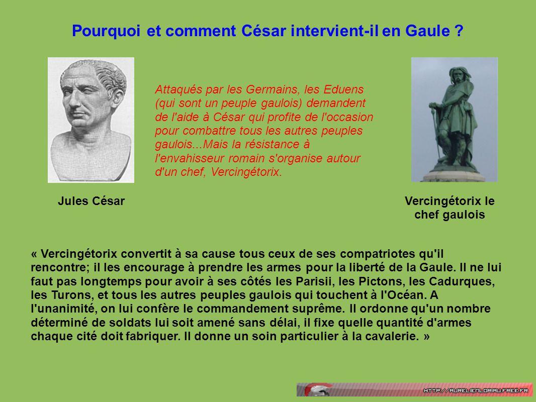 Pourquoi et comment César intervient-il en Gaule ? Attaqués par les Germains, les Eduens (qui sont un peuple gaulois) demandent de l'aide à César qui