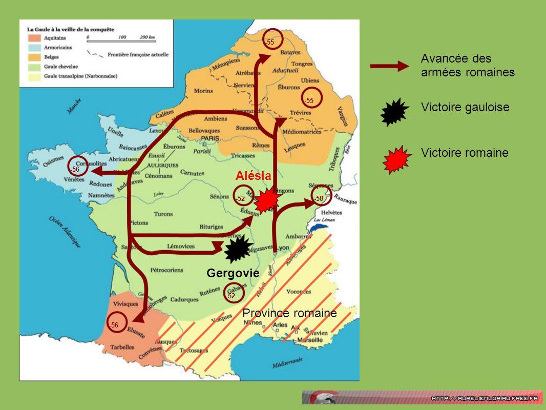 Gergovie Alésia -58 -55 -56 -52 Province romaine Avancée des armées romaines Victoire gauloise Victoire romaine