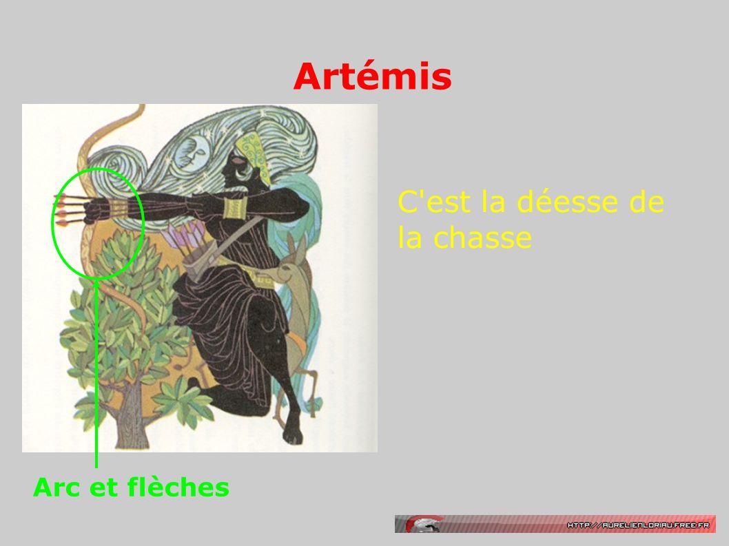 Artémis C'est la déesse de la chasse Arc et flèches