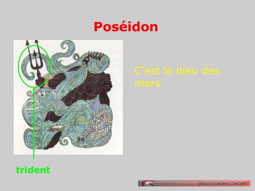 Poséidon C'est le dieu des mers trident