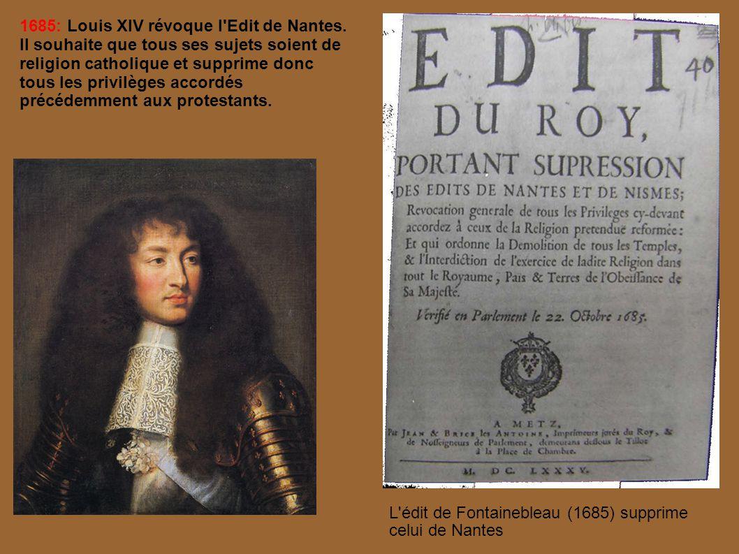 La révocation de l Édit de Nantes Sa Majesté a révoqué l Édit de Nantes de l an 1598.