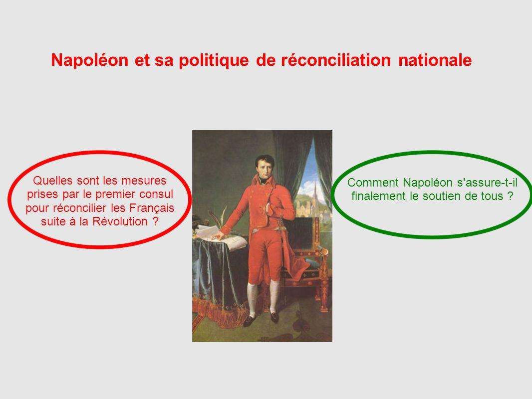 Napoléon et sa politique de réconciliation nationale Quelles sont les mesures prises par le premier consul pour réconcilier les Français suite à la Ré