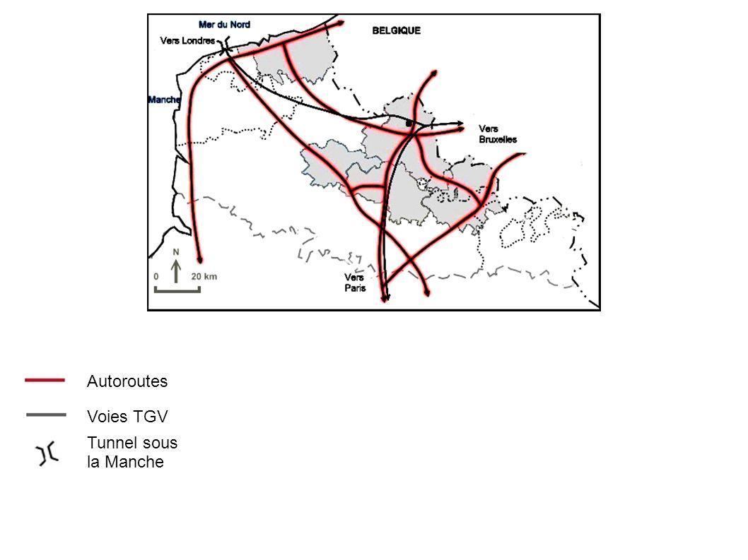 Autoroutes Voies TGV Tunnel sous la Manche Grand stade Aire urbaine de Lille Partie belge de l agglomération lilloise Autres aires urbaines de plus de 250000 hab.
