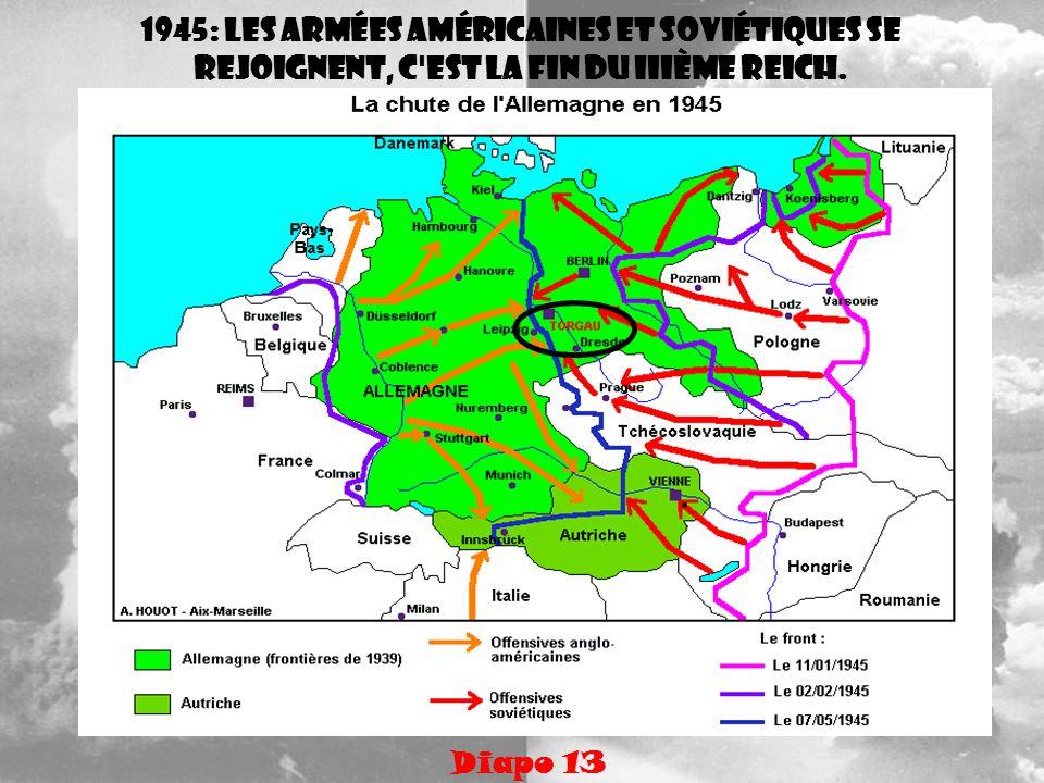1945: les armées américaines et soviétiques se rejoignent, c'est la fin du IIIème Reich. Diapo 13
